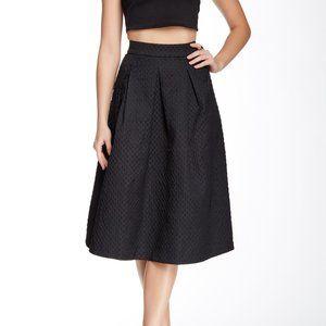 Black Pleated A-Line Midi Skirt